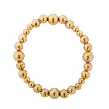 Graduated Gold Bead Stretch Bracelet