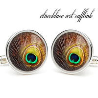 Peacoke feather cufflinks,personalised cufflinks for men,perfect gift for dad,birthday ideas for him,birthday present ideas for dad