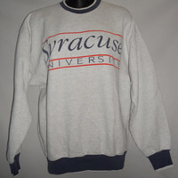 Vintage 80s 90s Syracuse University Sweater Heather Grey Red Blue Legends Brand Size Medium