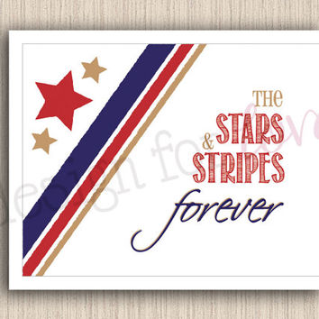 "Stars and Stripes - Printable File - 11"" x 8.5"" - Patriotic - 4th of July - Summer Decor"
