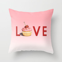 Perfect Pink Cupcake LOVE Throw Pillow by Patricia Shea Designs