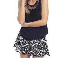 Black and White Graphic Soft Flare Shorts