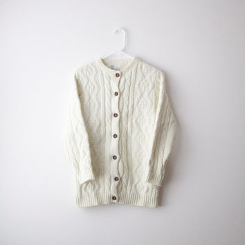 Vintage Cream Cable-Knit Cardigan - S