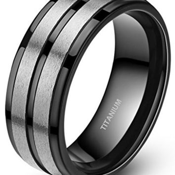 8mm Titanium Rings for Men Black Silver Engagement Wedding Band
