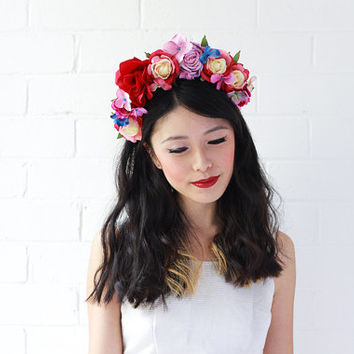 red statement floral headpiece / spring headband, hair crown, wedding bridal headpiece, statement, lana del rey, fascinator, spring races.