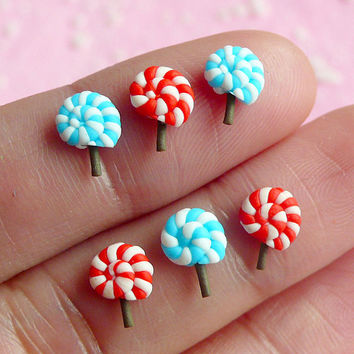 Miniature Sweets Lollipop (6 pcs) Kawaii Dollhouse Sweets Mini Sweets Deco Cell Phone Decoden Fake Cupcake Topper Nail Art NAC005