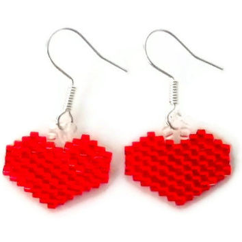 Red Heart Earrings Delica Beads