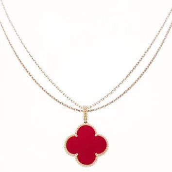 Van Cleef & Arpels Women Fashion New Four-Leaf Clover Pendant Necklace Red