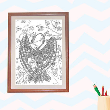 Line drawing,Adult Colouring Page,Digital Illustration,Line Art,Adult Coloring,page to print,bird coloring,bird Line Art. phenix coloring