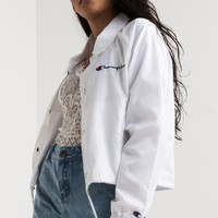 Champion Women's Cropped Lightweight Water Resistant Back Logo Coach Jacket in White