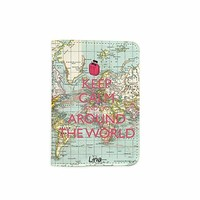 World Map Keep Calm & Go Around The World Passport Holder - Customized Travel Passport Covers - Passport Wallet_Emerishop