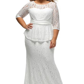 White Formal Lace Peplum Dress