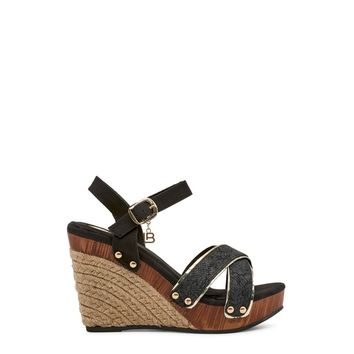 "Women's Black Vegan Leather ""Laura Biagiotti SNAKE"" Wedges/Sandals/Heels/Platform Shoes with Grommet Detail"