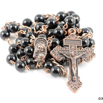 Wire Wrapped Rosary Black Onyx Pardon Traditional Catholic