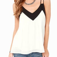 Black and White Sleeveless V-Neck Chiffon Top