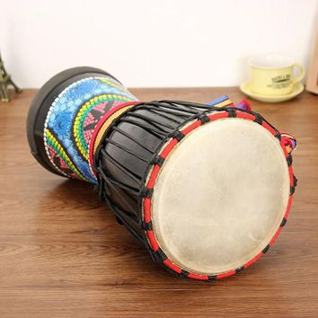 8 inch African Mahogany Djembe Painted Drummer With Hand Bell