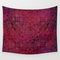 Retro Red Wall Tapestry by LebensARTdesign