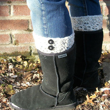 Boot Cuffs , Boots Toppers , Cream , Wool ,  Buttons , Boot Socks , Legwarmers