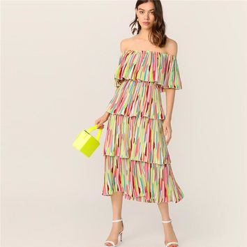 Boho Off Shoulder Layered Ruffle Trim Colorful Striped Dress Women Fit and Flare Elegant Party Long Dresses