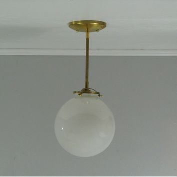 "8"" Glass Globe Brass Pendant Light"