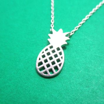 Pineapple Shaped Fruit Charm Necklace in Silver | DOTOLY