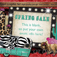 BOHO Theme Graphic Design Pack Zebra Print Camper Leopard Print Buffalo Glitter Cactus Watercolor Leopard Cactus Marquee Light Frame Vintage