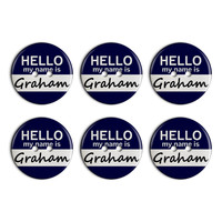 Graham Hello My Name Is Plastic Resin Button Set of 6