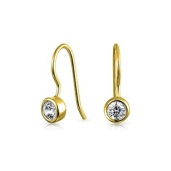 Solitaire CZ Drop Threader Earrings 14K Gold Plated Sterling Silver