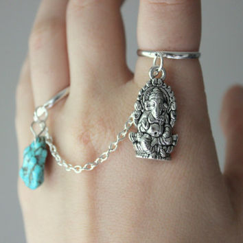 Ganesh and Turquoise Charm Ring, Ganesh Ring, Dangle Turquoise Ring, Ganesh Slave Ring, Boho Chic, Buddhist Jewelry, Elephant Ring