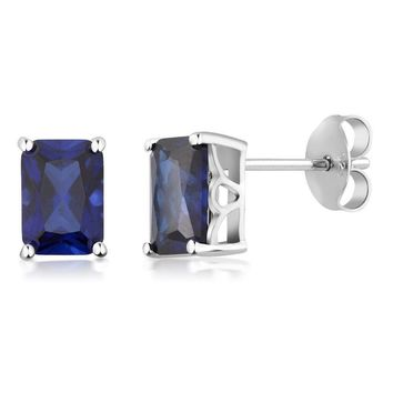 925 Sterling Silver Simulated Blue Sapphire Earrings 7X5MM Emerald Cut 2.00 Ct