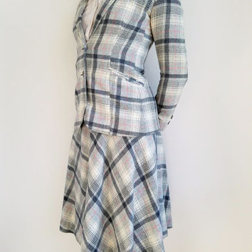70s Skirt Suit Womens 70s Clothing Plaid Wool Skirt Suit Womens Grey Suit Plaid Blazer Plaid Skirt Made in Japan Size Extra Small Japan Made