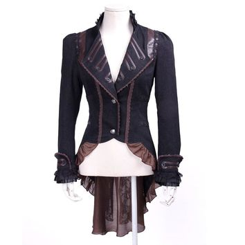 Punk Gothic Ladies Palace Vintage Dovetail Jackets Steampunk Autumn Winter Swallowtail Jacket Slim Fit V-Neck Long Ruffle Coats