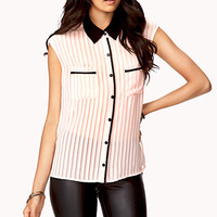 Striped Open Back Shirt
