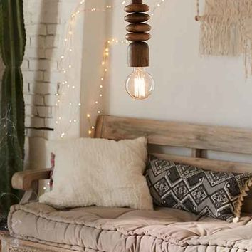 Stacked Wood Pendant Light - Brown One