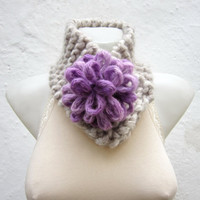 Removeable Brooch Pin -Cowl- Hand Knitted Neck Warmer  - Women  Winter  Accessories Cream  Lilac