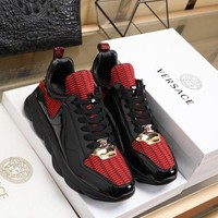 DCCK Versace Fashion Black/Red Casual Women Men Sneakers Sport Shoes