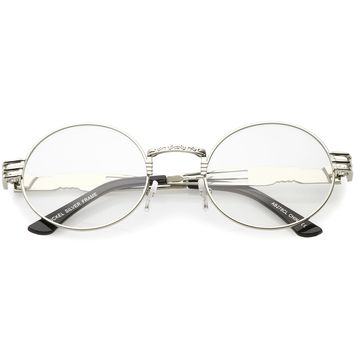 Steampunk Inspired Oval Eye Glasses Unique Engraved Metal Detail Clear Lens 60mm