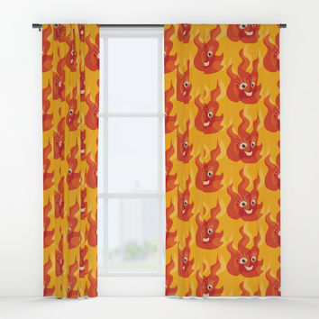 Happy Burning Cartoon Fire Window Curtains by borianagiormova