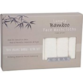 Luxury Bamboo Facial Washcloths, Set of 6, white