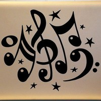 Musical Treble Clef Bass Clef Music Notes Vinyl Decal Mac PC Laptop | MakeItMineDesigns - Techcraft on ArtFire