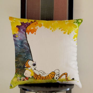 Calvin And Hobbes Sleeping tree Pillow, Pillow Case, Pillow Cover, 16 x 16 Inch One Side, 16 x 16 Inch Two Side, 18 x 18 Inch One Side, 18 x 18 Inch Two Side, 20 x 20 Inch One Side, 20 x 20 Inch Two Side