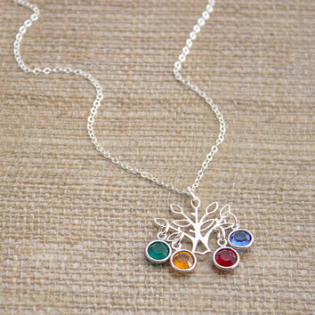 Sterling Silver Family Tree Birthstone Pendant Necklace