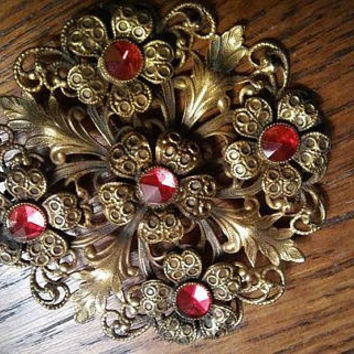 On Sale Antique Red Rhinestone Pin, Vintage Ornate Flower Brooch, Mid Century Collectible, 1940's 1950's Art Deco Jewelry