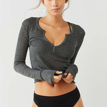 Out From Under Scarlett Notch Henley Top   Urban Outfitters