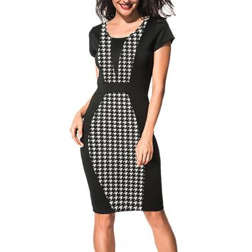 Oxiuly Women Elegant Slimming Work Office Dresses Ladies Wear Houndstooth Plaid Knee-Length Sheath Pencil Bodycon Party Dress