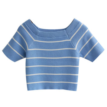 Blue Crop Top with White Stripes