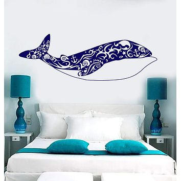 Vinyl Wall Decal Big Whale Art Shells Ocean Sea Style Stickers Unique Gift (1792ig)