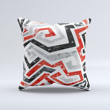 Red-Gray-Black Abstract V3 Pattern Ink-Fuzed Decorative Throw Pillow