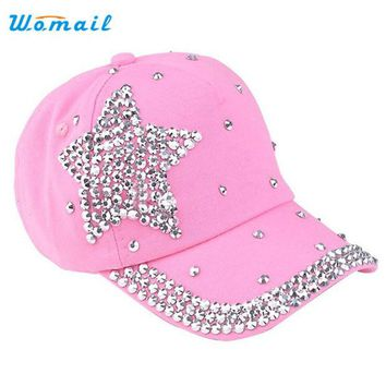 LMFONJ Amazing 5 Colors Fashion Children Kids Baseball Cap Rhinestone Star Shaped Boy Girls Snapback Hat Summer