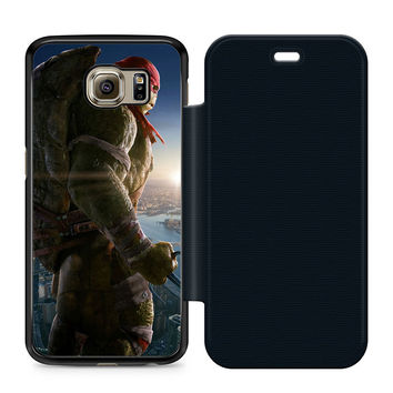 Ninja Turtles Raphael Leather Wallet Flip Case Samsung Galaxy S6